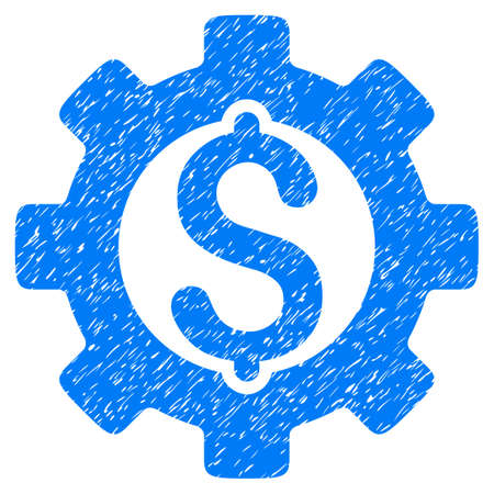 Development Cost grainy textured icon for overlay watermark stamps. Flat symbol with dirty texture. Dotted vector blue ink rubber seal stamp with grunge design on a white background.