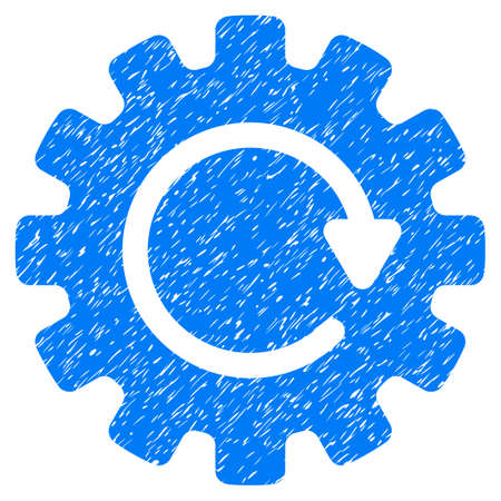 Gearwheel Rotation grainy textured icon for overlay watermark stamps. Flat symbol with scratched texture. Dotted vector blue ink rubber seal stamp with grunge design on a white background.