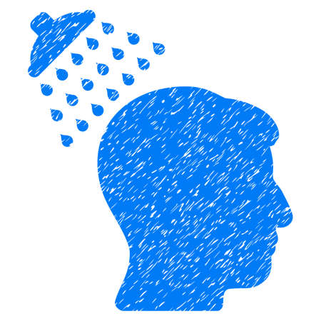 disinfection: Head Shower grainy textured icon for overlay watermark stamps. Flat symbol with dirty texture. Dotted vector blue ink rubber seal stamp with grunge design on a white background. Illustration