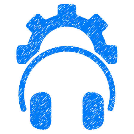 Headphones Configuration Gear grainy textured icon for overlay watermark stamps. Flat symbol with scratched texture. Dotted vector blue ink rubber seal stamp with grunge design on a white background. Illustration