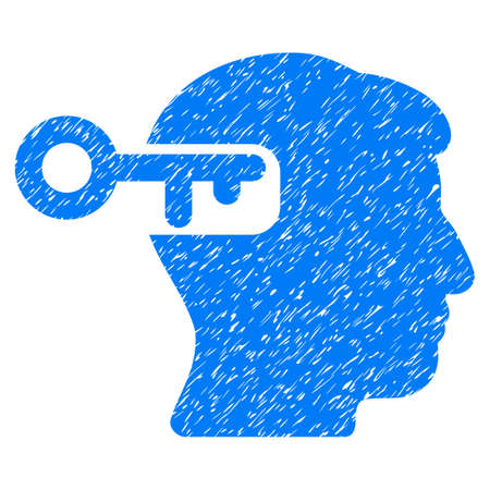 Intellect Key grainy textured icon for overlay watermark stamps. Flat symbol with dirty texture. Dotted vector blue ink rubber seal stamp with grunge design on a white background.