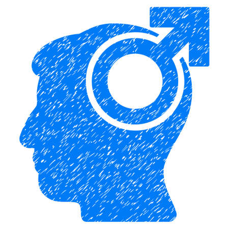 potency: Intellect Potency grainy textured icon for overlay watermark stamps. Flat symbol with dirty texture. Dotted vector blue ink rubber seal stamp with grunge design on a white background. Illustration