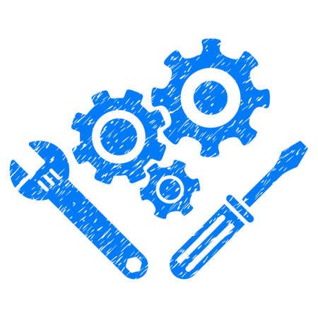 Mechanics Tools grainy textured icon for overlay watermark stamps. Flat symbol with unclean texture. Dotted vector blue ink rubber seal stamp with grunge design on a white background.