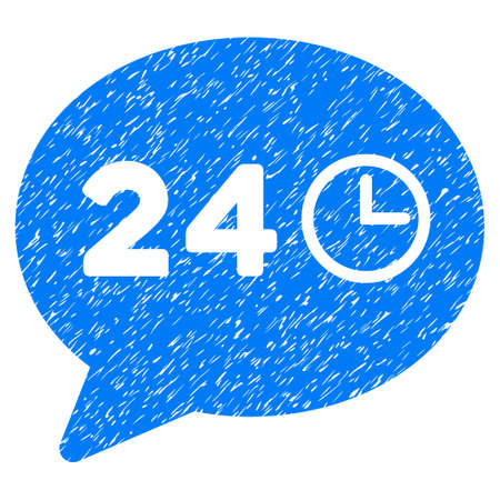 Message Hours grainy textured icon for overlay watermark stamps. Flat symbol with unclean texture. Dotted vector blue ink rubber seal stamp with grunge design on a white background.