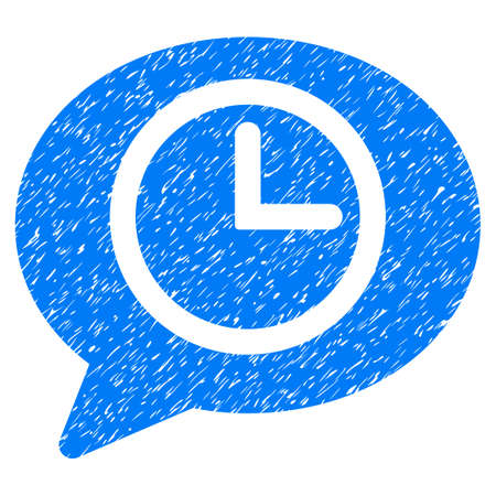 Message Time grainy textured icon for overlay watermark stamps. Flat symbol with scratched texture. Dotted vector blue ink rubber seal stamp with grunge design on a white background.