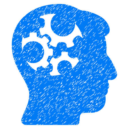 Mind Gears grainy textured icon for overlay watermark stamps. Flat symbol with dirty texture. Dotted vector blue ink rubber seal stamp with grunge design on a white background. Illustration