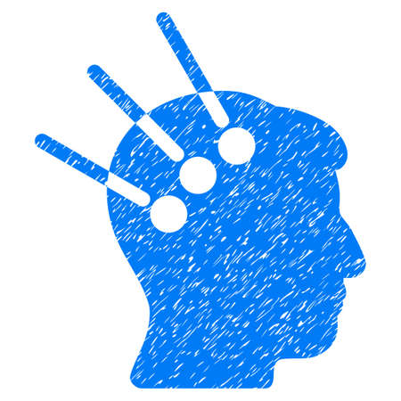 cranial: Neural Interface grainy textured icon for overlay watermark stamps. Flat symbol with unclean texture. Dotted vector blue ink rubber seal stamp with grunge design on a white background.