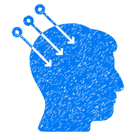 Neural Interface Connectors grainy textured icon for overlay watermark stamps. Flat symbol with unclean texture. Dotted vector blue ink rubber seal stamp with grunge design on a white background. Illustration