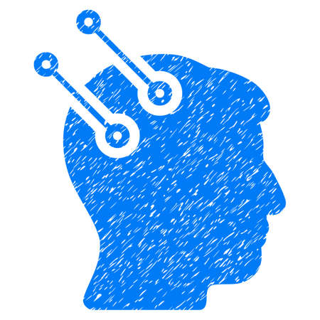 Neural Interface Connectors grainy textured icon for overlay watermark stamps. Flat symbol with dust texture. Dotted vector blue ink rubber seal stamp with grunge design on a white background. Illustration