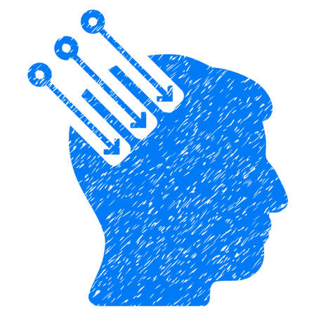 Neuro Interface grainy textured icon for overlay watermark stamps. Flat symbol with scratched texture. Dotted vector blue ink rubber seal stamp with grunge design on a white background. Illustration