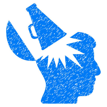 Open Brain Megaphone grainy textured icon for overlay watermark stamps. Flat symbol with unclean texture. Dotted vector blue ink rubber seal stamp with grunge design on a white background.
