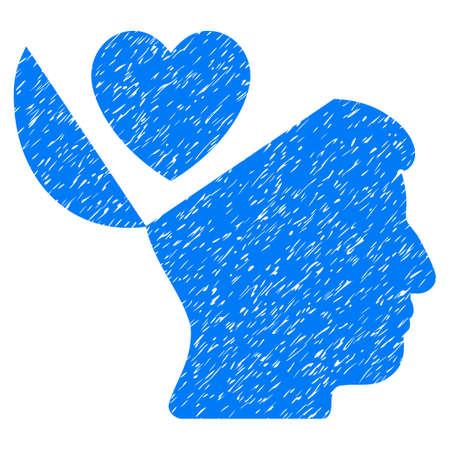 Open Mind Love Heart grainy textured icon for overlay watermark stamps. Flat symbol with dirty texture. Dotted vector blue ink rubber seal stamp with grunge design on a white background. Illustration