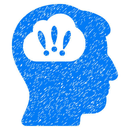 Problem Brainstorm grainy textured icon for overlay watermark stamps. Flat symbol with unclean texture. Dotted vector blue ink rubber seal stamp with grunge design on a white background. Illustration