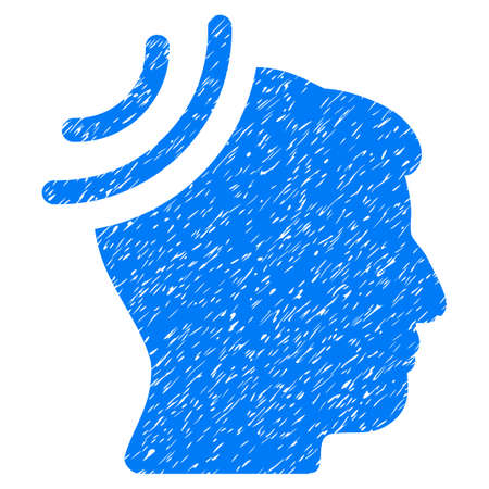 Radio Reception Brain grainy textured icon for overlay watermark stamps. Flat symbol with dirty texture. Dotted vector blue ink rubber seal stamp with grunge design on a white background. Illustration
