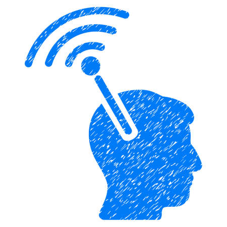 Radio Neural Interface grainy textured icon for overlay watermark stamps. Flat symbol with unclean texture. Dotted vector blue ink rubber seal stamp with grunge design on a white background.