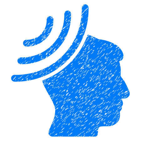 recipient: Radio Reception Mind grainy textured icon for overlay watermark stamps. Flat symbol with scratched texture. Dotted vector blue ink rubber seal stamp with grunge design on a white background.