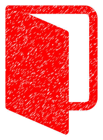 portone: Open Door grainy textured icon for overlay watermark stamps. Flat symbol with dirty texture. Dotted glyph red ink rubber seal stamp with grunge design on a white background. Archivio Fotografico