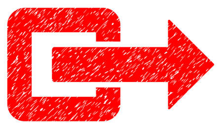 portone: Exit Direction grainy textured icon for overlay watermark stamps. Flat symbol with dust texture. Dotted glyph red ink rubber seal stamp with grunge design on a white background.