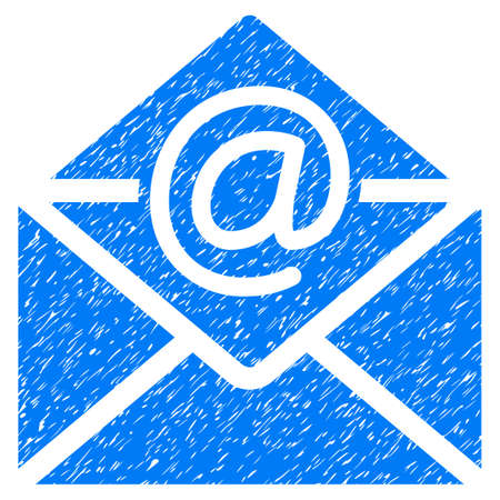 Email grainy textured icon for overlay watermark stamps. Flat symbol with dust texture. Dotted glyph blue ink rubber seal stamp with grunge design on a white background.