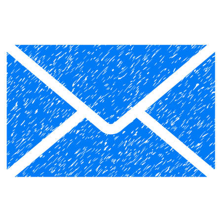 Mail Envelope grainy textured icon for overlay watermark stamps. Flat symbol with dust texture. Dotted glyph blue ink rubber seal stamp with grunge design on a white background.