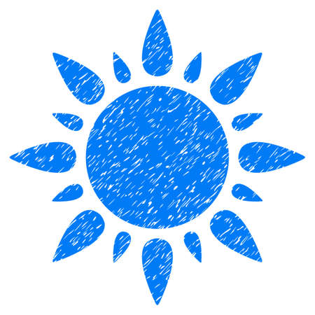 Sun grainy textured icon for overlay watermark stamps. Flat symbol with unclean texture. Dotted glyph blue ink rubber seal stamp with grunge design on a white background.