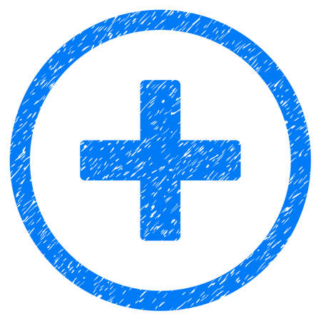 Create grainy textured icon for overlay watermark stamps. Flat symbol with dirty texture. Dotted vector blue ink rubber seal stamp with grunge design on a white background.