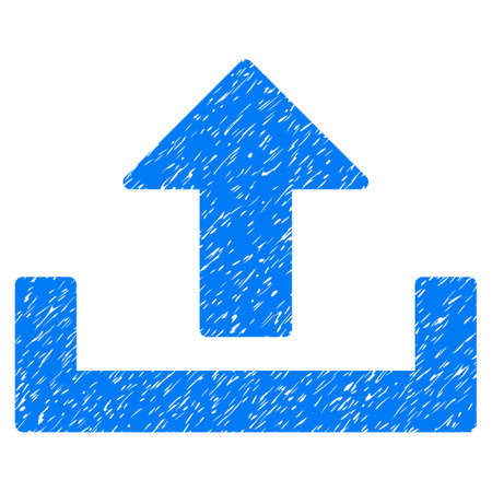 Upload grainy textured icon for overlay watermark stamps. Flat symbol with unclean texture. Dotted vector blue ink rubber seal stamp with grunge design on a white background.