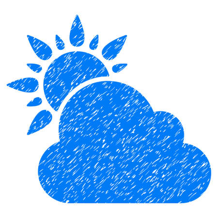 climatology: Weather grainy textured icon for overlay watermark stamps. Flat symbol with unclean texture. Dotted vector blue ink rubber seal stamp with grunge design on a white background. Illustration