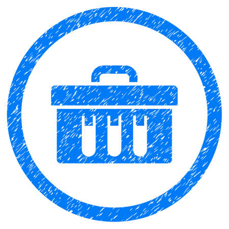 rubber tube: Rounded Analysis Box rubber seal stamp watermark. Icon symbol inside circle with grunge design and dirty texture. Unclean glyph blue sign.