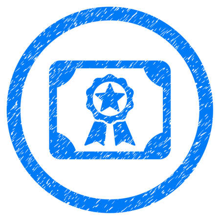 Rounded Award Diploma rubber seal stamp watermark. Icon symbol inside circle with grunge design and unclean texture. Unclean glyph blue sticker.