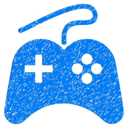 Gamepad grainy textured icon for overlay watermark stamps. Flat symbol with dirty texture. Dotted vector blue ink rubber seal stamp with grunge design on a white background.