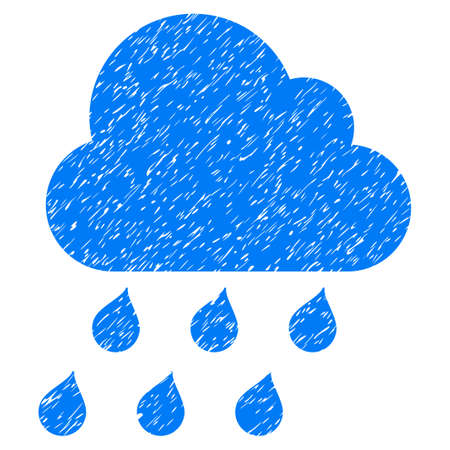 overcast: Rain Cloud grainy textured icon for overlay watermark stamps. Flat symbol with scratched texture. Dotted vector blue ink rubber seal stamp with grunge design on a white background. Illustration