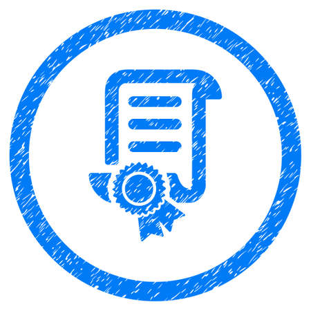 Rounded Certified Scroll Document rubber seal stamp watermark. Icon symbol inside circle with grunge design and dust texture. Unclean glyph blue emblem.
