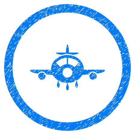 Rounded Aircraft rubber seal stamp watermark. Icon symbol inside circle with grunge design and dust texture. Unclean vector blue sign.
