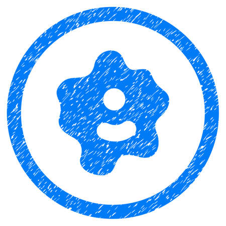 ameba: Rounded Ameba rubber seal stamp watermark. Icon symbol inside circle with grunge design and unclean texture. Unclean vector blue sign.
