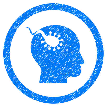 Rounded Brain Parasite rubber seal stamp watermark. Icon symbol inside circle with grunge design and scratched texture. Unclean vector blue sticker.