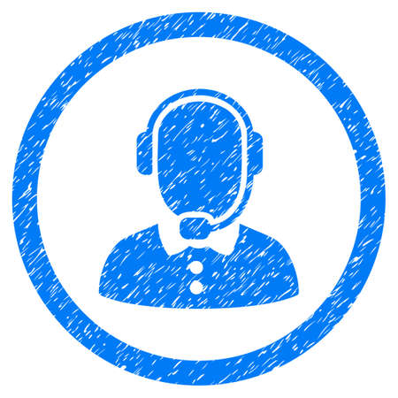 Rounded Call Center Operator rubber seal stamp watermark. Icon symbol inside circle with grunge design and dirty texture. Unclean glyph blue emblem.