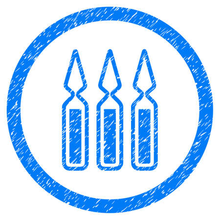 Rounded Ampoules rubber seal stamp watermark. Icon symbol inside circle with grunge design and unclean texture. Unclean vector blue emblem. Illustration