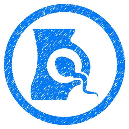 espermatozoides: Redondeada Inseminación Artificial marca de agua sello de junta de goma. Símbolo del icono dentro del círculo con diseño de grunge y textura rayado. vector impuro emblema azul.