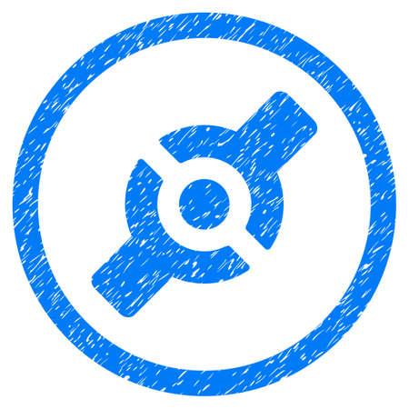 Filigrane de timbre en caoutchouc de joint artificiel arrondi. Symbole d'icône à l'intérieur du cercle avec la conception de grunge et la texture de la poussière. Signe de vecteur bleu sale. Vecteurs