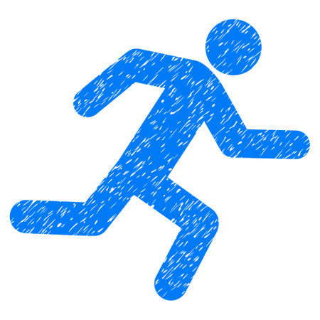 Running Man grainy textured icon for overlay watermark stamps. Flat symbol with scratched texture. Dotted glyph blue ink rubber seal stamp with grunge design on a white background.