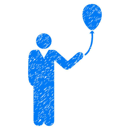 Man With Holiday Balloon grainy textured icon for overlay watermark stamps. Flat symbol with scratched texture. Dotted vector blue ink rubber seal stamp with grunge design on a white background.