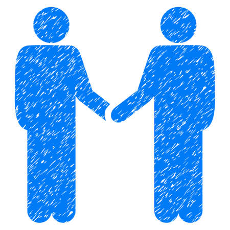 handclasp: Persons Handshake grainy textured icon for overlay watermark stamps. Flat symbol with dirty texture. Dotted vector blue ink rubber seal stamp with grunge design on a white background. Illustration