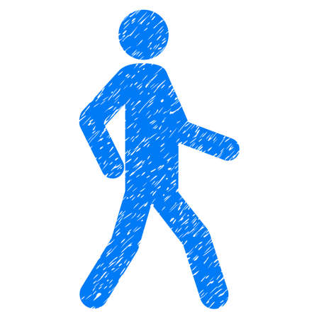 Walking Man grainy textured icon for overlay watermark stamps. Flat symbol with dust texture. Dotted vector blue ink rubber seal stamp with grunge design on a white background.