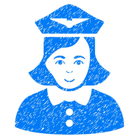 Airline Stewardess grainy textured icon for overlay watermark stamps. Flat symbol with dust texture. Dotted glyph blue ink rubber seal stamp with grunge design on a white background.