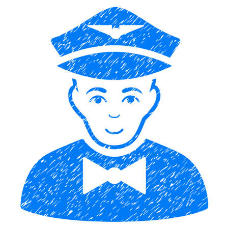 Airline Steward grainy textured icon for overlay watermark stamps. Flat symbol with unclean texture. Dotted glyph blue ink rubber seal stamp with grunge design on a white background.