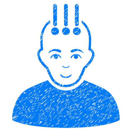cerebra: Neural Interface grainy textured icon for overlay watermark stamps. Flat symbol with dust texture. Dotted glyph blue ink rubber seal stamp with grunge design on a white background.