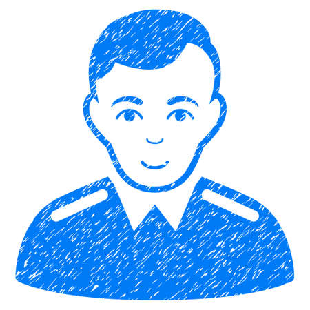 Officer grainy textured icon for overlay watermark stamps. Flat symbol with unclean texture. Dotted glyph blue ink rubber seal stamp with grunge design on a white background. Stock Photo