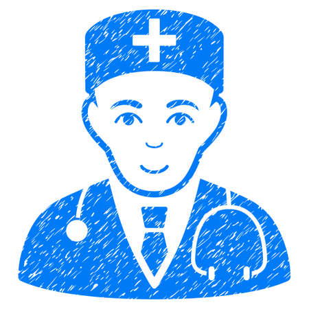 auscultation: Physician grainy textured icon for overlay watermark stamps. Flat symbol with dust texture. Dotted glyph blue ink rubber seal stamp with grunge design on a white background.