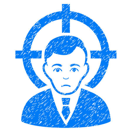 Victim Businessman grainy textured icon for overlay watermark stamps. Flat symbol with dirty texture. Dotted glyph blue ink rubber seal stamp with grunge design on a white background. Stock Photo